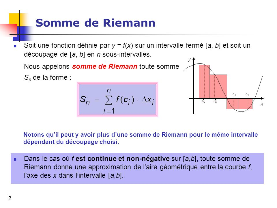 Somme de Riemann Soit une fonction définie par y = f(x) sur un intervalle fermé [a, b] et soit un découpage de [a, b] en n sous-intervalles.
